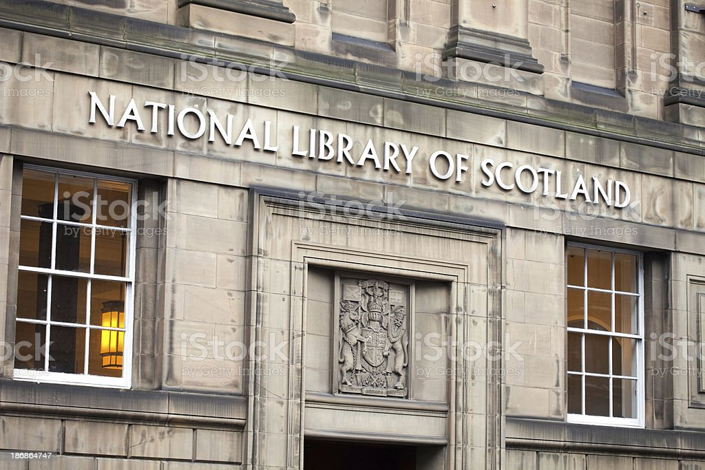 "National Library of Scotland ""Facade of the National Library of Scotland, Edinburgh"" Architecture Stock Photo"