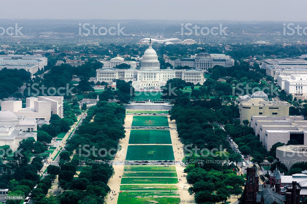 National Mall and United States Capitol in Washington, DC stock photo