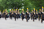 Washington, D.C., USA - May 28, 2018: The National Memorial Day Parade, The Fayette High School Falcon Band, going down Constitution Avenue.