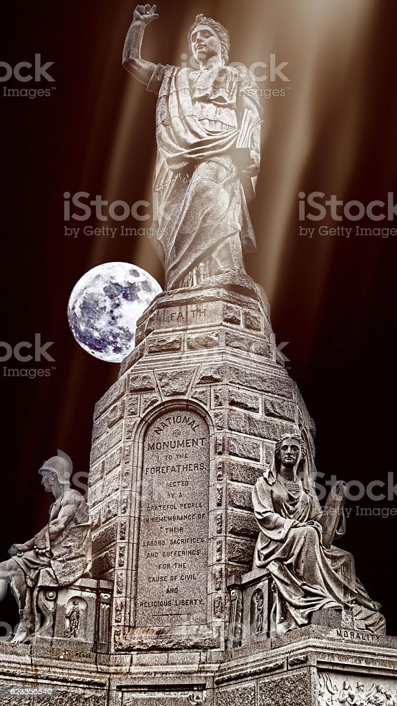 National Monument to the Forefathers stock photo