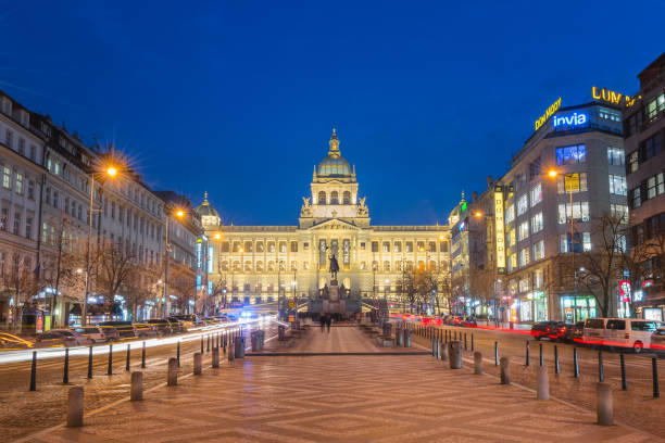 National Museum and Wenceslas Square at night Prague, Czech Republic - January 23, 2019: National Museum and Wenceslas Square at night wenceslas square stock pictures, royalty-free photos & images