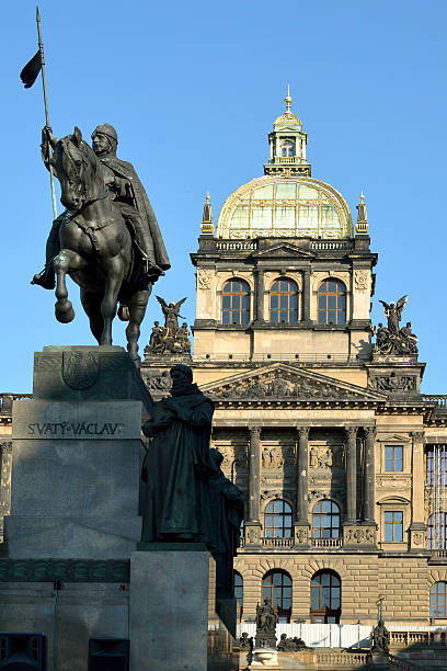 National museum in Prague - Czech Republic Prague, Czech Republic - July 06, 2015: National museum on the Wenceslas Square with the Wenceslas Monument in historic Centre of Prague in the Czech Republic.  wenceslas square stock pictures, royalty-free photos & images