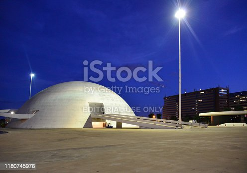 Brasília, Federal District, Brazil: the dome shaped National Museum of the Republic, part of the Cultural Complex of the Republic, located on the Monumental Axis avenue and designed by Oscar Niemyer - Museu Nacional - Conjunto Cultural da República