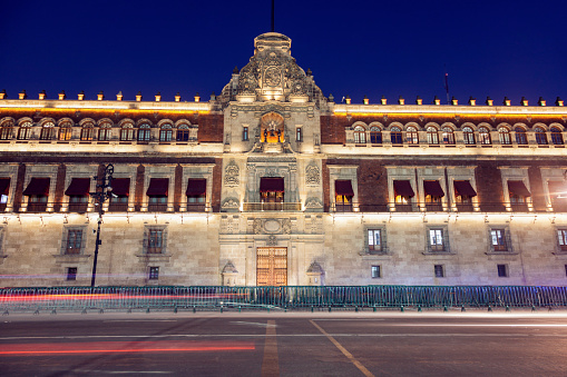 National Palace in Mexico City seen at night