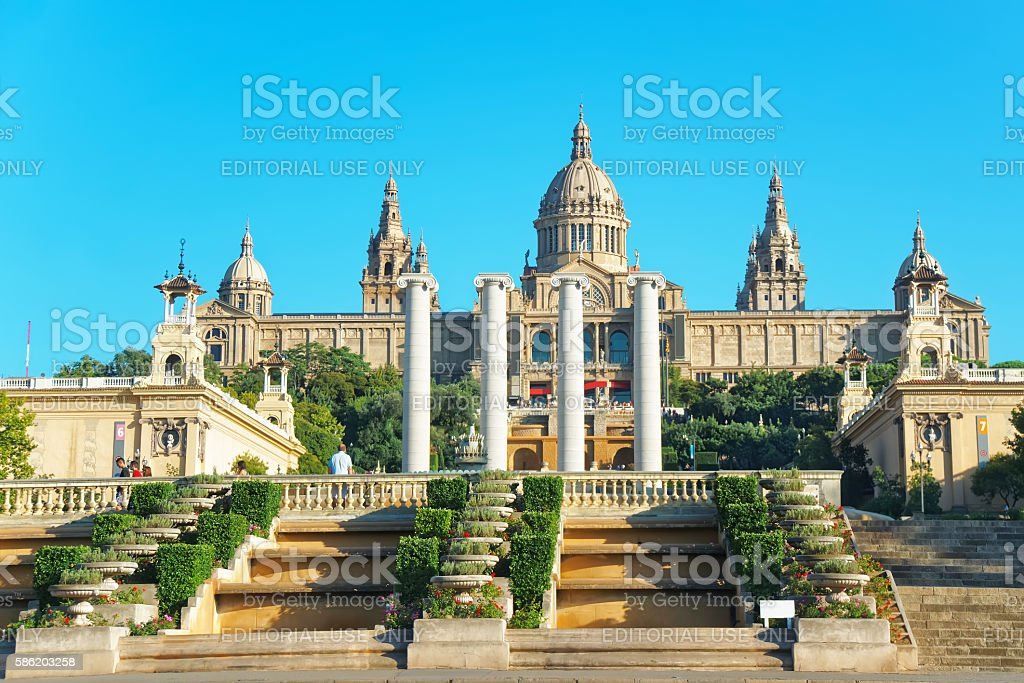 national palace on montjuic hill in barcelona of spain ストック