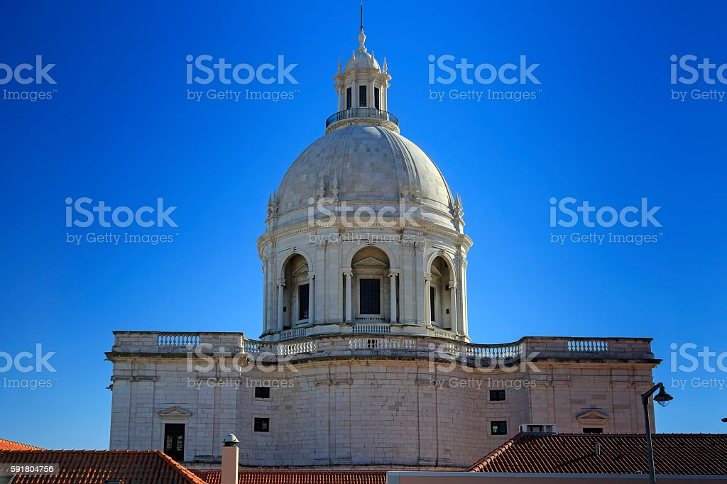 National Pantheon and house roofs in Lisbon stock photo