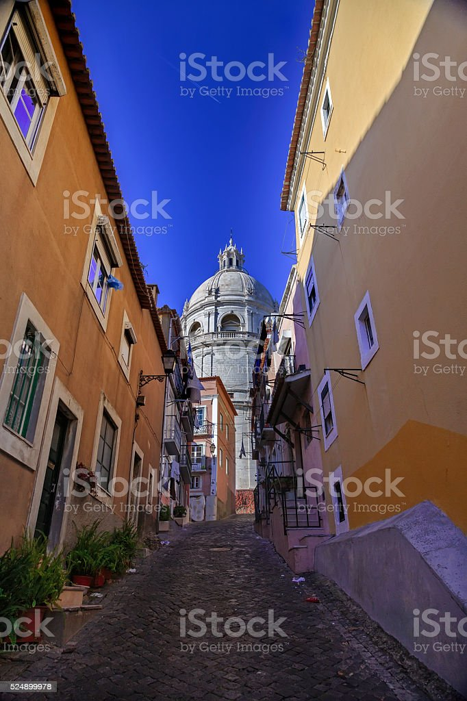 National Pantheon and typical Lisbon street stock photo