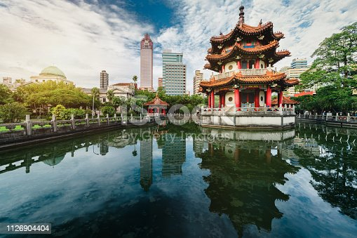 Sunset of 228 national park with modern building and pond reflection, Taipei, Taiwan