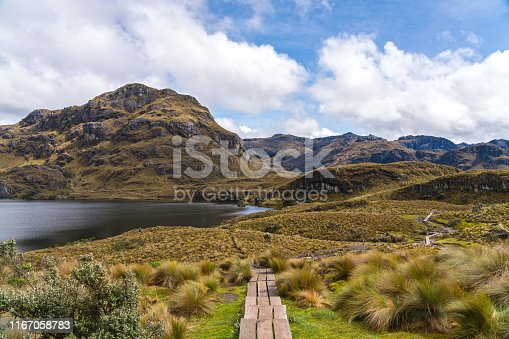 Distant people hiking the landscape of National park Las Cajas Mountains in Ecuador close to Cuenca city on 3850 altitude.