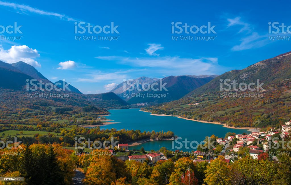 National Park of Abruzzo, Lazio and Molise (Italy) - The autumn with foliage stock photo