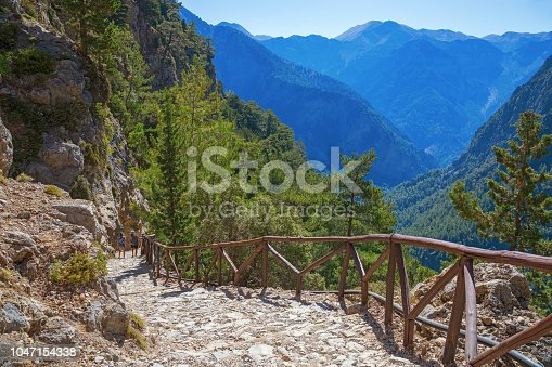 istock National Park of Samaria, Grecce, island Crete. Gorge Samaria. Magnificent view the top of the mountain. Forest path. 1047154338
