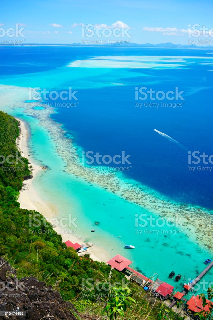 National Park on top of Bohey Dulang island stock photo