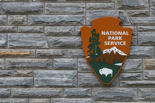 National Park Service Sign With Copy Space to Left stock photo