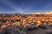 Lone Pine Peak view on sunrise at Alabama Hills, Eastern Sierra Nevada Mountains, Lone Pine, California, USA.