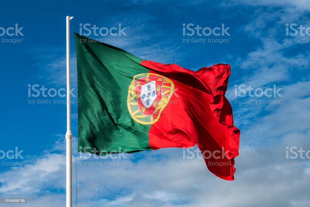 Nationalflagge Portugal in Lissabon Marques de Pombal Gärten – Foto