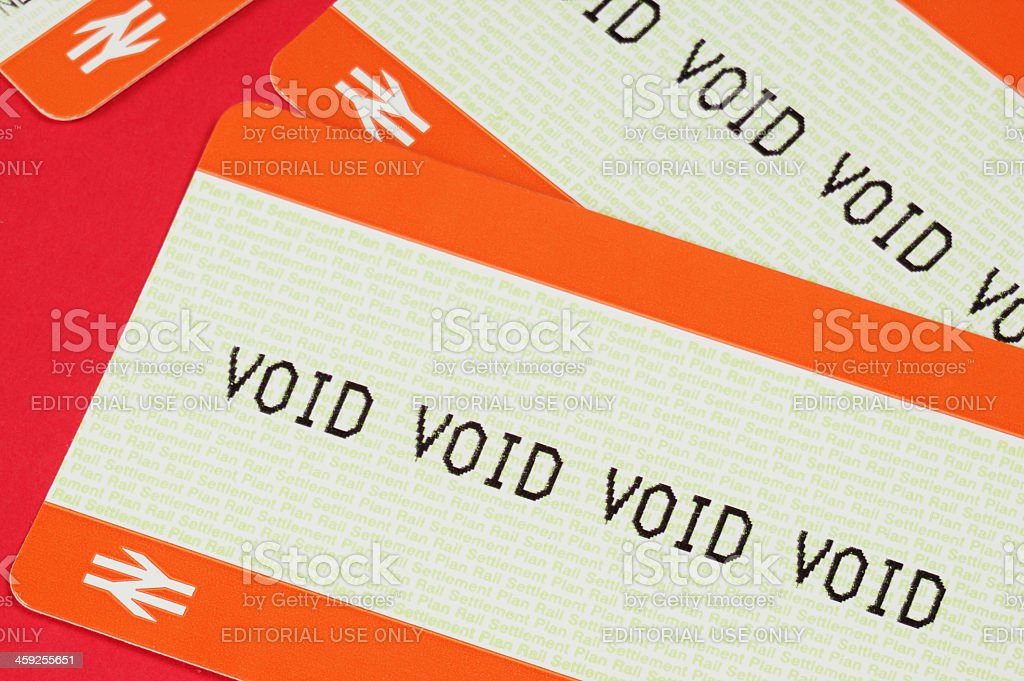 National Rail - Void ticket stock photo