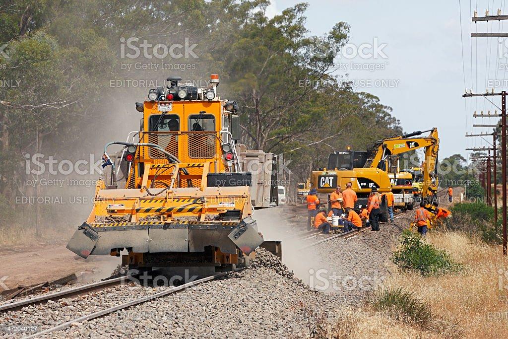 National railway mainline track rehabilitation and upgrading stock photo