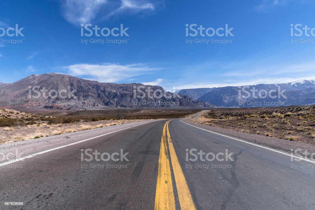 National Route 7 in Mendoza, Argentina, which leads to Chile, passing through Mount Aconcagua stock photo