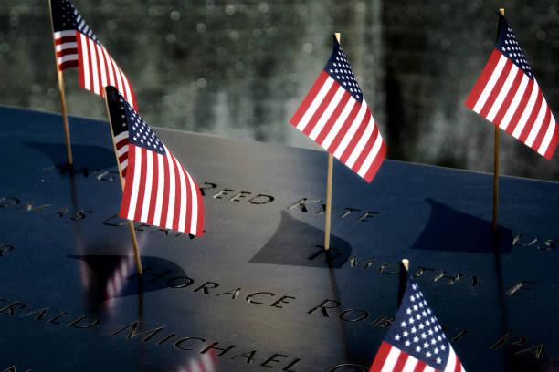 National September 11 Memorial, July 4th, Lower Manhattan, New York City, USA stock photo