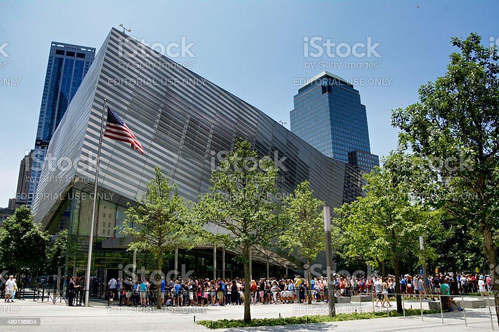 National September 11 Memorial Museum, Visitor Line, New York City stock photo