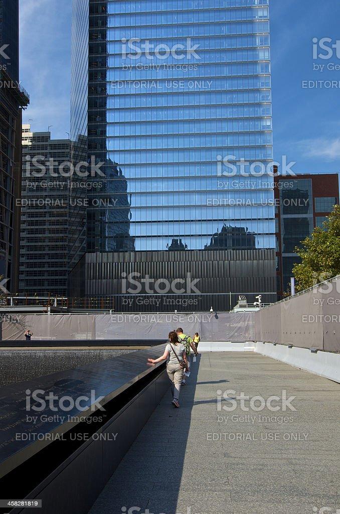 National September 11 Memorial Visitors, North Pool, Ground Zero, NYC stock photo