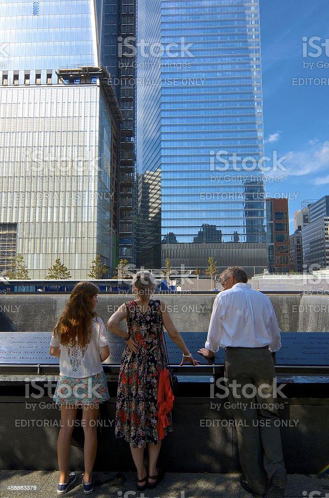 National September 11 Memorial visitors, Reflecting Pool, Ground Zero, NYC stock photo