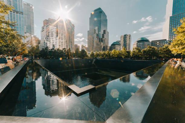 National September 11 memorial waterfalls stock photo