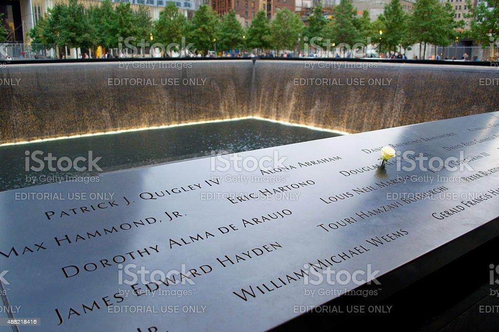 National September 11 Memorial with Flower stock photo