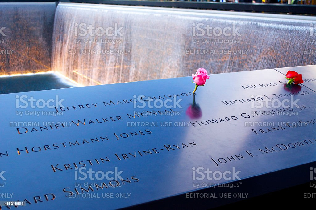 National September 11 Memorial with Flowers stock photo