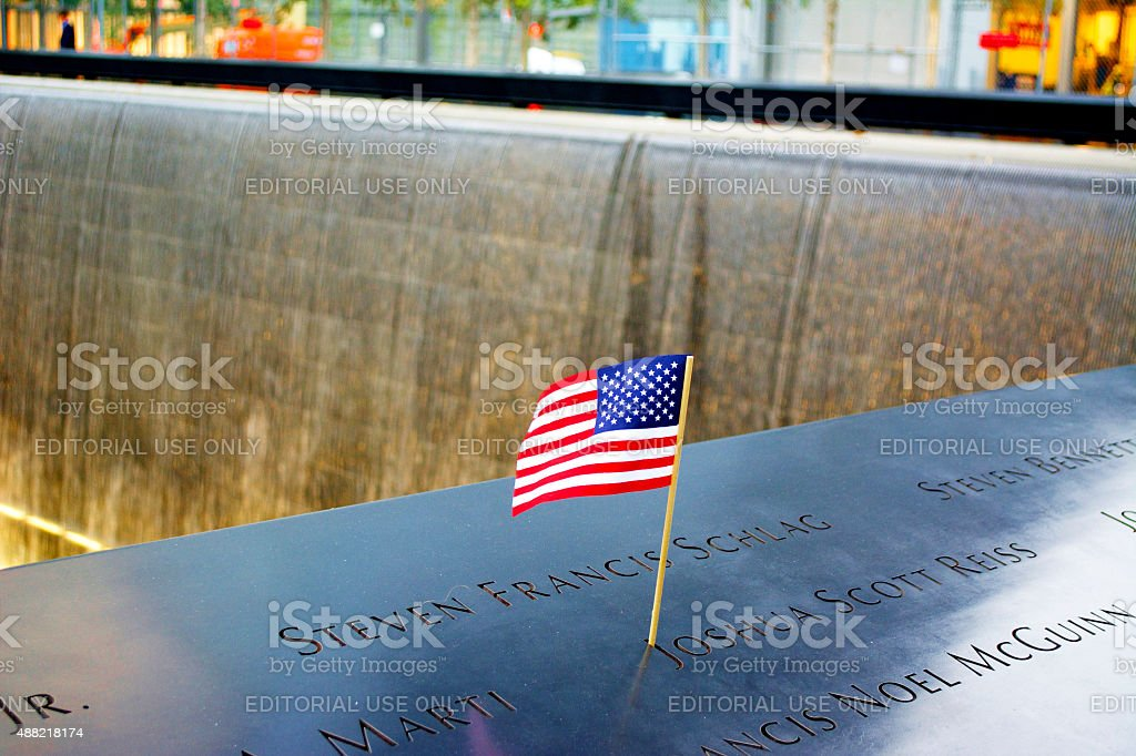 National September 11 Memorial with US Flag stock photo