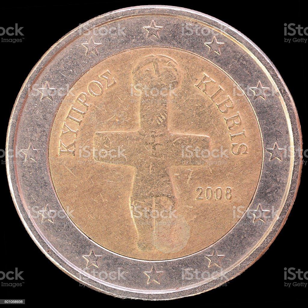 Seite Von Zypern Zweieuromünze Auf Schwarzem Hintergrund Stock