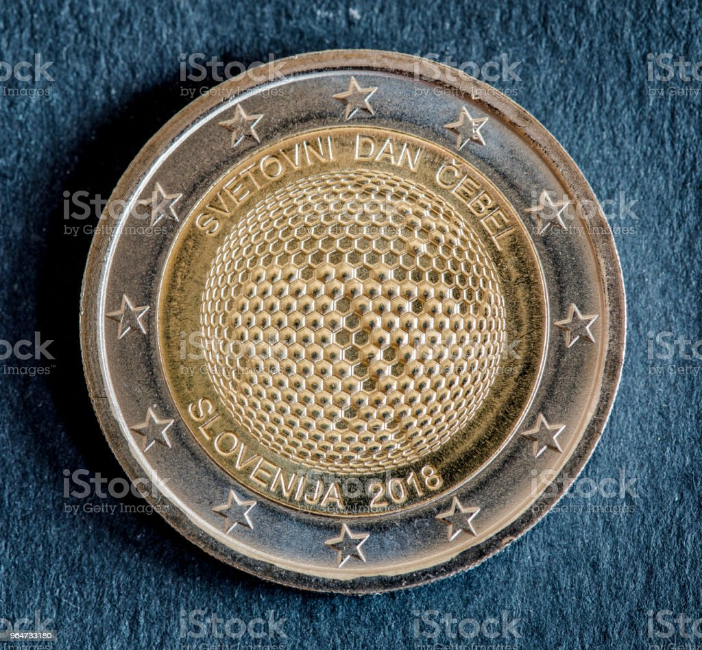 National side of two euro coin issued by Slovenia 2018 royalty-free stock photo