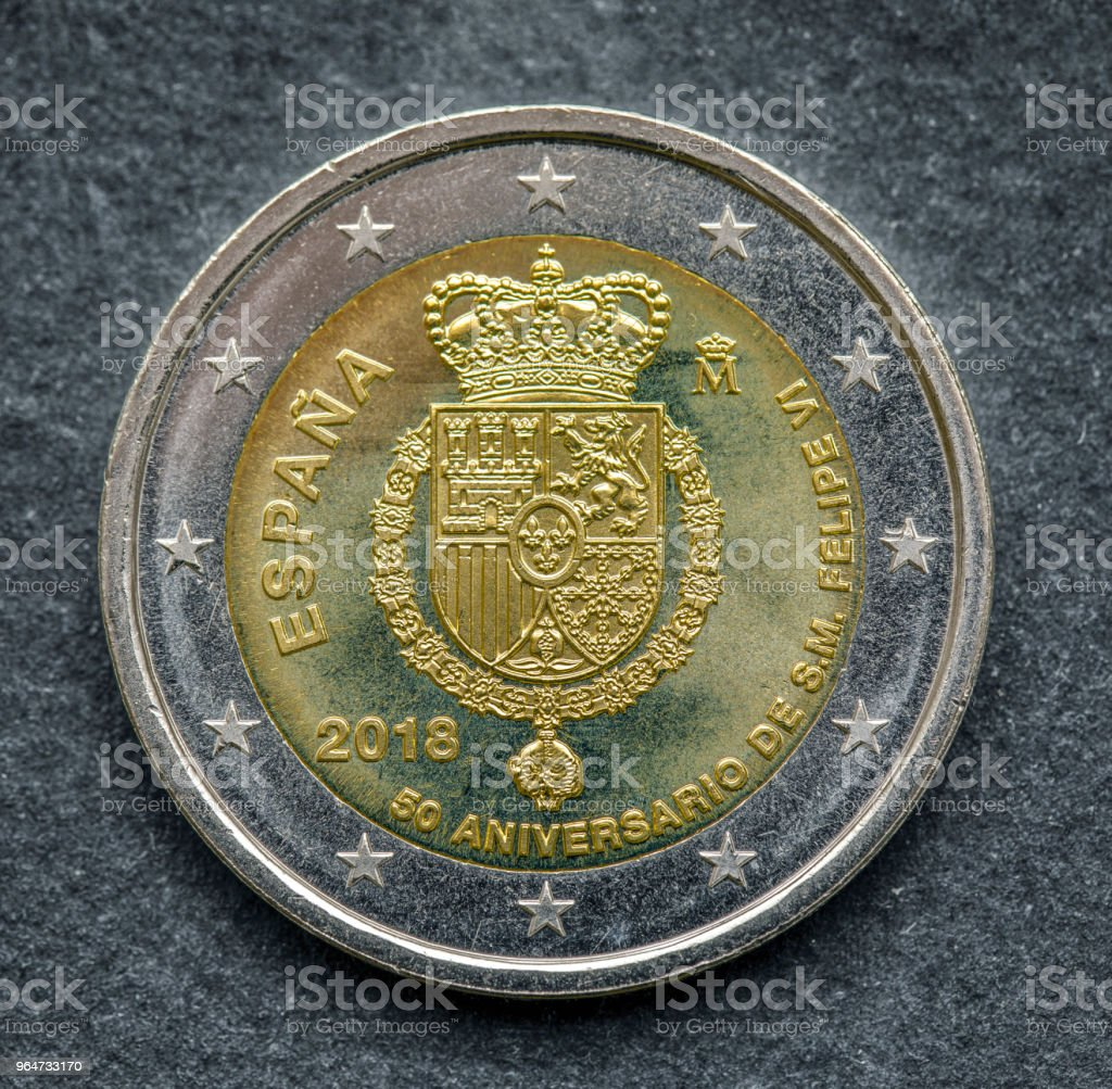 National side of two euro coin issued by Spain 2018 royalty-free stock photo