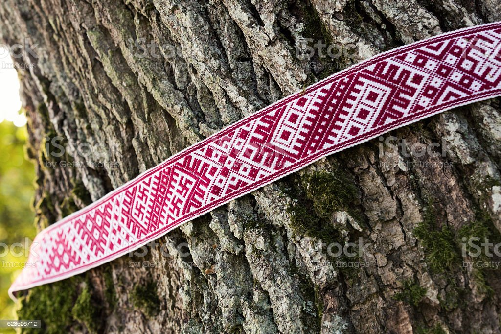National symbols of Latvia - Lielvarde belt around the tree stock photo