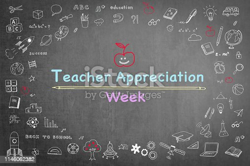 istock National teacher appreciation week on black chalkboard with doodle 1146062382