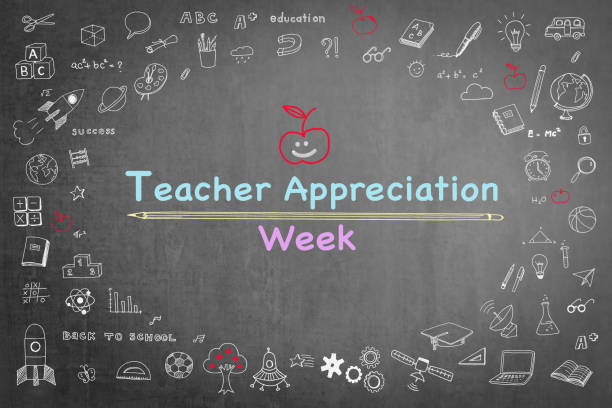 national teacher appreciation week on black chalkboard with doodle - ammirazione foto e immagini stock