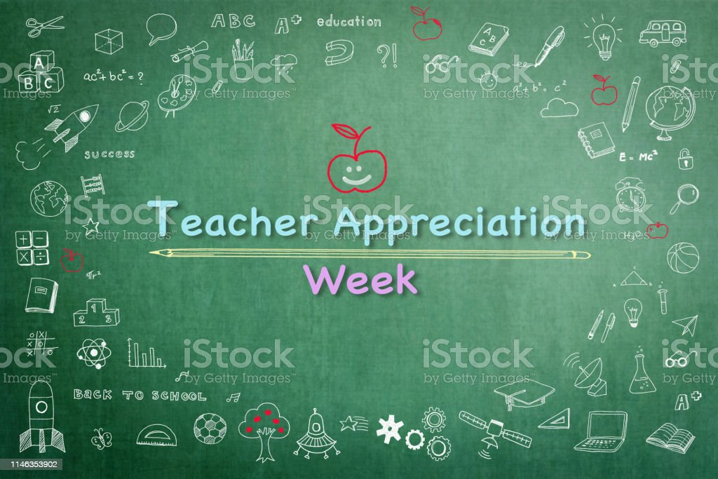 National teacher appreciation week on green chalkboard with doodle