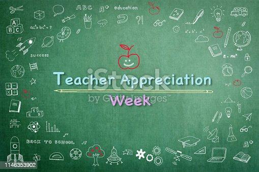 977488078 istock photo National teacher appreciation week on green chalkboard with doodle 1146353902