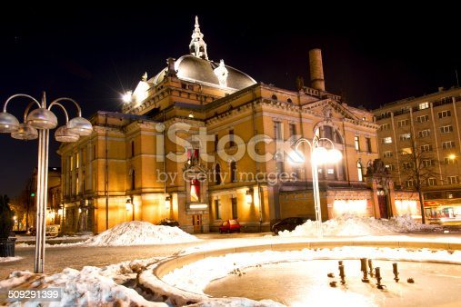 National theatre in Oslo at night winter