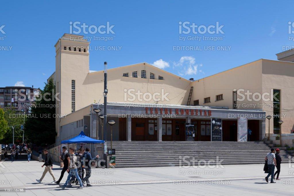National Theatre of Kosovo in Pristina stock photo