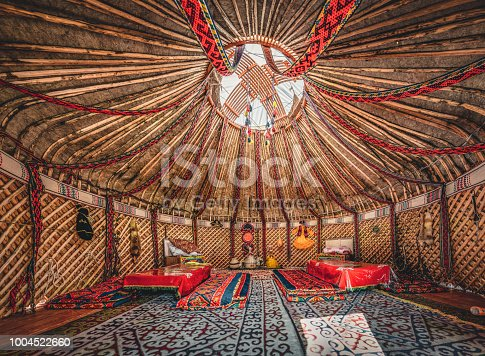 National traditional decoration of the yurt ceiling. Kazakhstani ornament. Vintage weaving of patterns. Yurt decoration. Wooden frame with patterns as an ethnic background, golden horde, Photo taken in Kazakhstan.