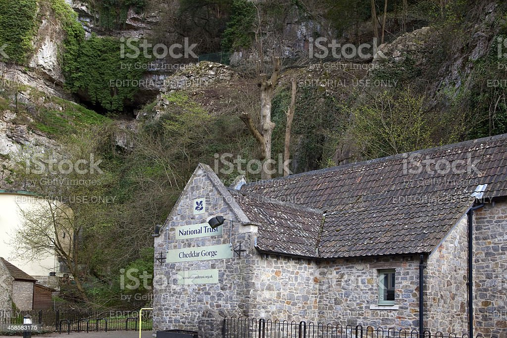 National Trust Building in Cheddar Gorge stock photo