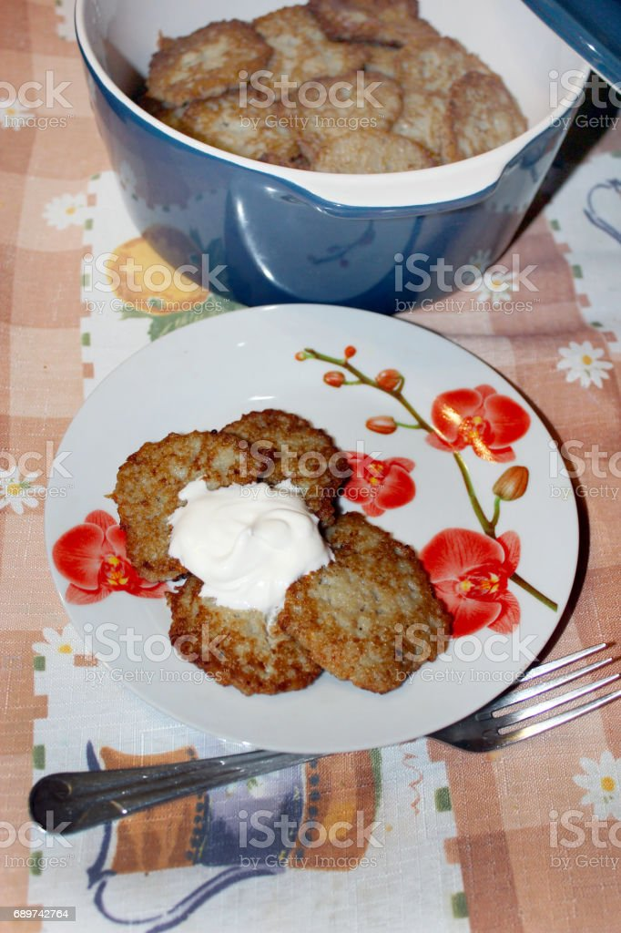 national Ukrainian dish potato pancakes stock photo
