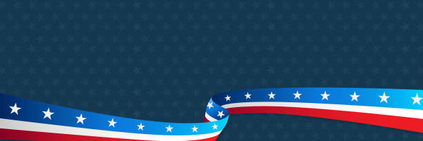 National USA special day celebration concept; wavy flag ribbon on star background. stock photo