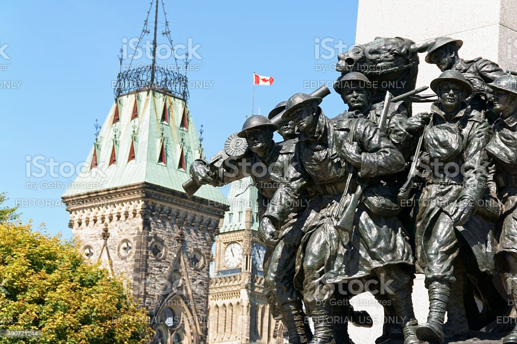 National War Memorial and Canadian Parliament building in Ottawa stock photo