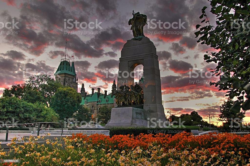 National War Memorial At Dusk Ottawa Canada- Stock Image stock photo