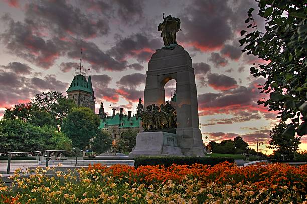 national war memorial at dusk ottawa canada- stock image - war memorial stock pictures, royalty-free photos & images