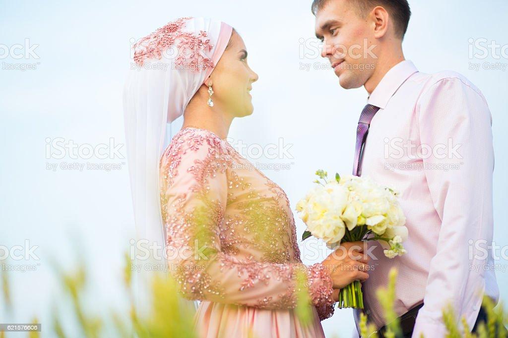 National wedding. Bride and groom photo libre de droits