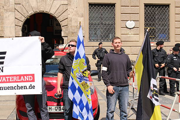 Nationalist demonstration in Munich stock photo