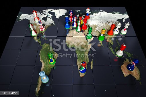 Render of a chessboard decorated with a map of the earth and with pieces decorated with the flags of the G20 Governments: Canada, USA, UK, France, Italy, Germany, Japan., Mexico, Argentina, Brazil, Turkey, Russia, Saudi Arabia, South Africa, India, China, South Korea, Indonesia, Australia and the EU.  The Earth map is a public domain image from NASA's Visible Earth project: https://visibleearth.nasa.gov/view.php?id=73884